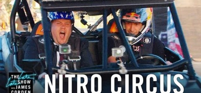 Video: Pastrana takes James Corden for a ride
