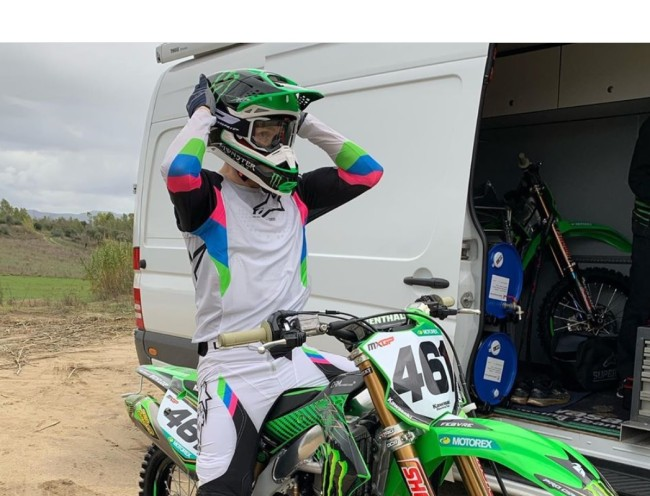 Febvre back on the bike – first day on the Kawasaki
